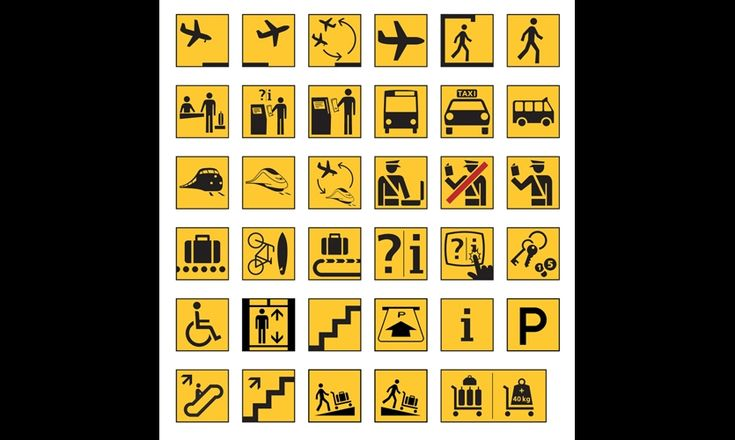 1990-1992 -- Paul Mijksenaar radicallyupdates the Schiphol system, introducing pictograms, reducing the size of arrows, and expanding the sign family to encompass extensive new airport development. The system typeface is changed from Akzidenz Grotesk to Frutiger.