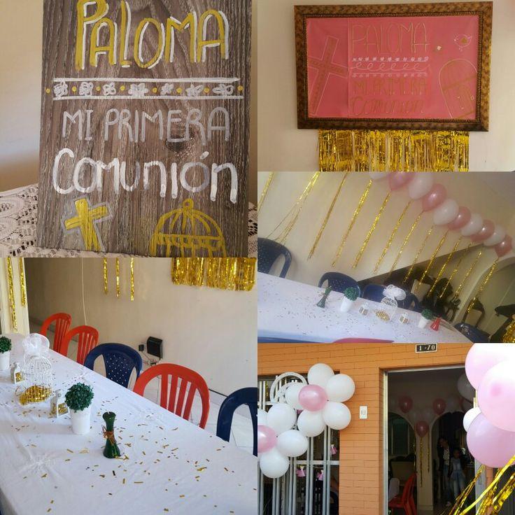 Una primera comunión con mucho movimiento de dorado sin olvidar el color favorito de la festejada el rosado.
