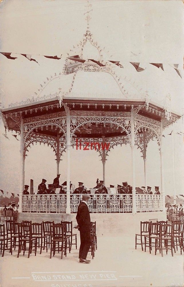 HAMPSHIRE SOUTHSEA NEW PIER BANDSTAND QUEENS OWN OXFORDSHIRE HUSSARS PLAY 1908 | eBay