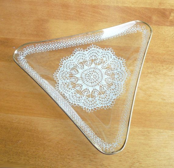 Triangular laced glass candy dish jewelry dish trinket dish from Chance Glass by indiecreativ, $21.00