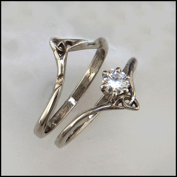 Gold Celtic Wedding Set with Diamond R84 A SET. Wedding ring & band