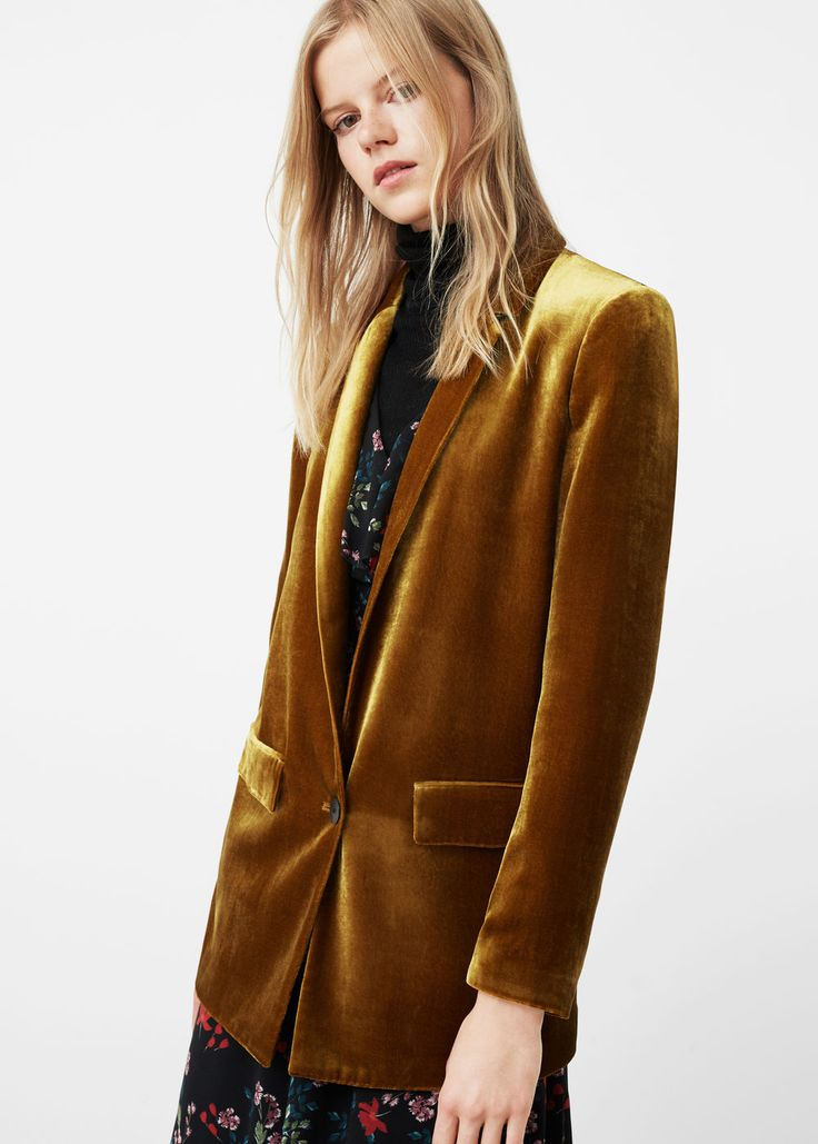 Velvet blazer - Jackets for Women | MANGO USA