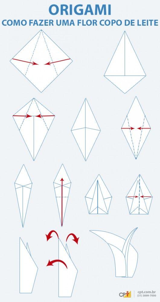 Origami - como fazer a flor Copo de Leite de papel