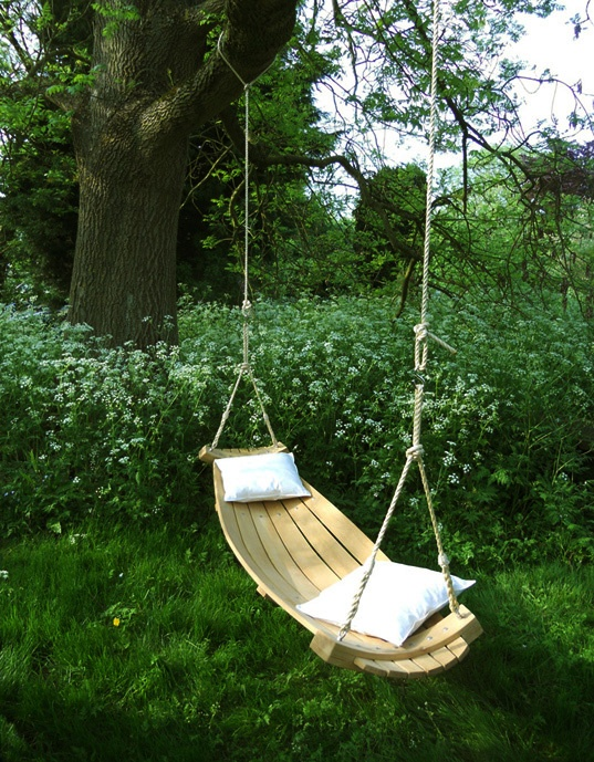 Imagine yourself whiling away the hours, lying back in our super comfortable  Hammocks, created from curved English Oak.