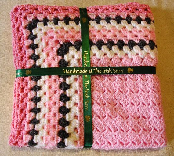 Crochet Baby Blanket Baby Girl  Pink grey and by TheIrishBarn