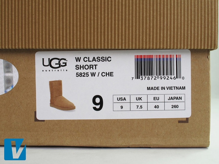 New UGG boot retail boxes feature a white label at one end detailing product image, size, style, color & country of origin. Check that these details match the details of the product itself.