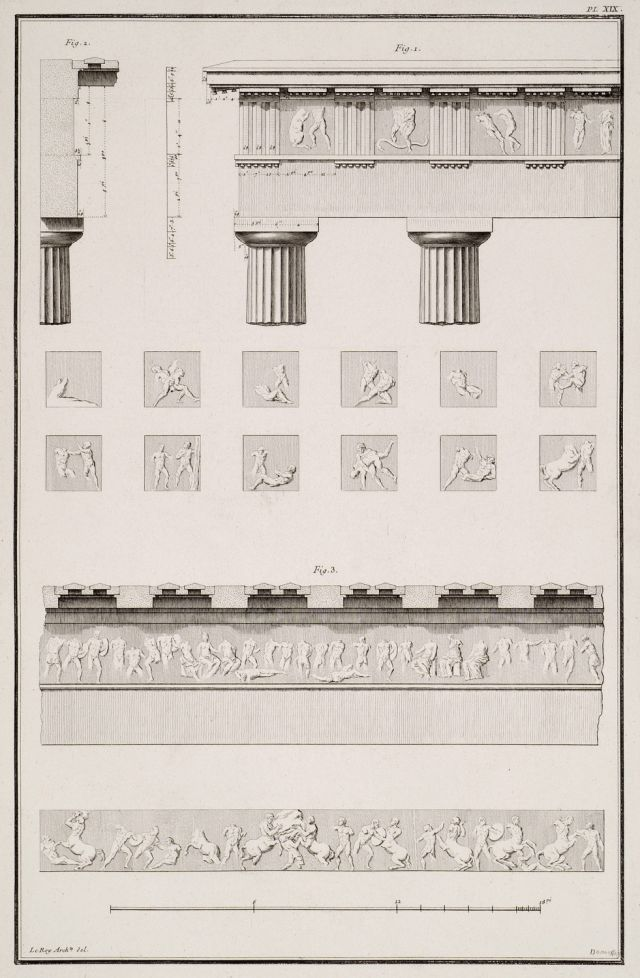 Temple of Hephaestus (Theseion), Athens: 1. Elevation of the east side of the temple. On the metopes the Twelve Labours of Heracles. 2. Section plan of the metopes and the friezes of the temple. 3. The east (the battle of Theseus and the Pallantides) and west frieze (Centauromachy) of the temple. - LE ROY, Julien David. - TRAVELLERS' VIEWS - Places – Monuments – People Southeastern Europe – Eastern Mediterranean – Greece – Asia Minor – Southern Italy, 15th -20th century