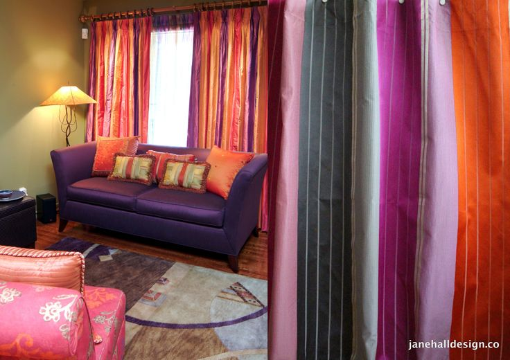 "Designers Guild, ""Cavaglia"" 54″ x 96″, Silk Curtain Panels, Purple Orange Magenta, From Jane Hall Design"