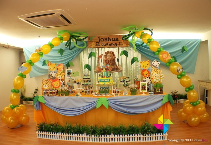 Baby Animals / Safari theme birthday party. Backdrop, cake / candy table & decor design & setup by ParteeBoo - The Party Designers