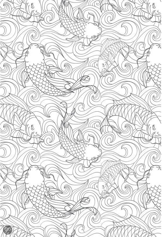 Koi Fish Goldfish Coloring Pages For Grownups