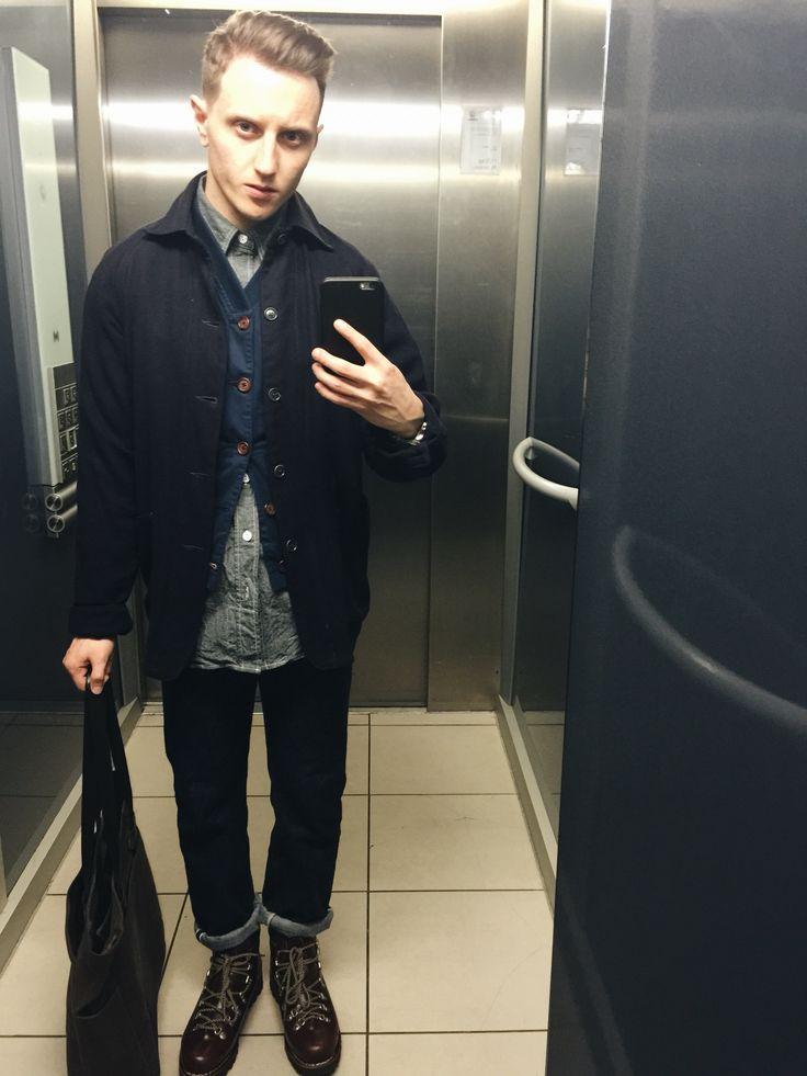 Post Overalls Ok41 jacket, Universal Works Vest, EG work shirt, Orslow 107 denim, Paraboot Avoriaz boots