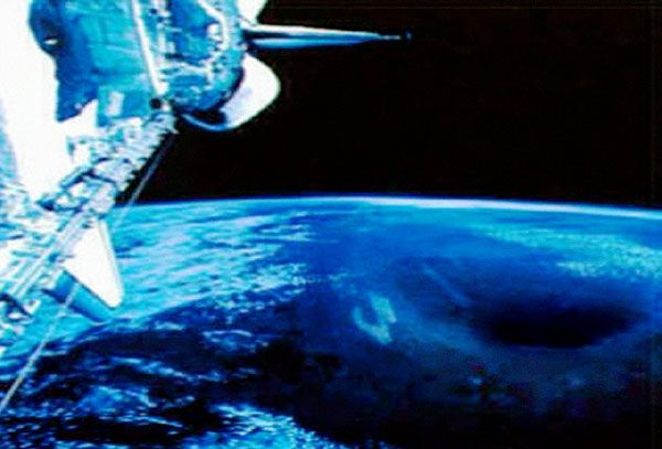 Rare photographic image of the North Pole entrance, taken from the Space Shuttle