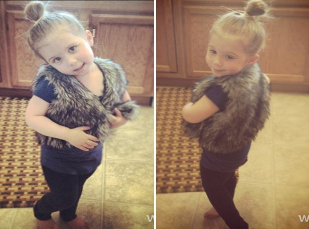 Aubree Houska Models Her Faux Fur Ensemble on April 4
