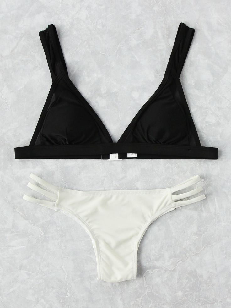 Shop Two Tone Ladder Cutout Bikini Set online. SheIn offers Two Tone Ladder Cutout Bikini Set & more to fit your fashionable needs.