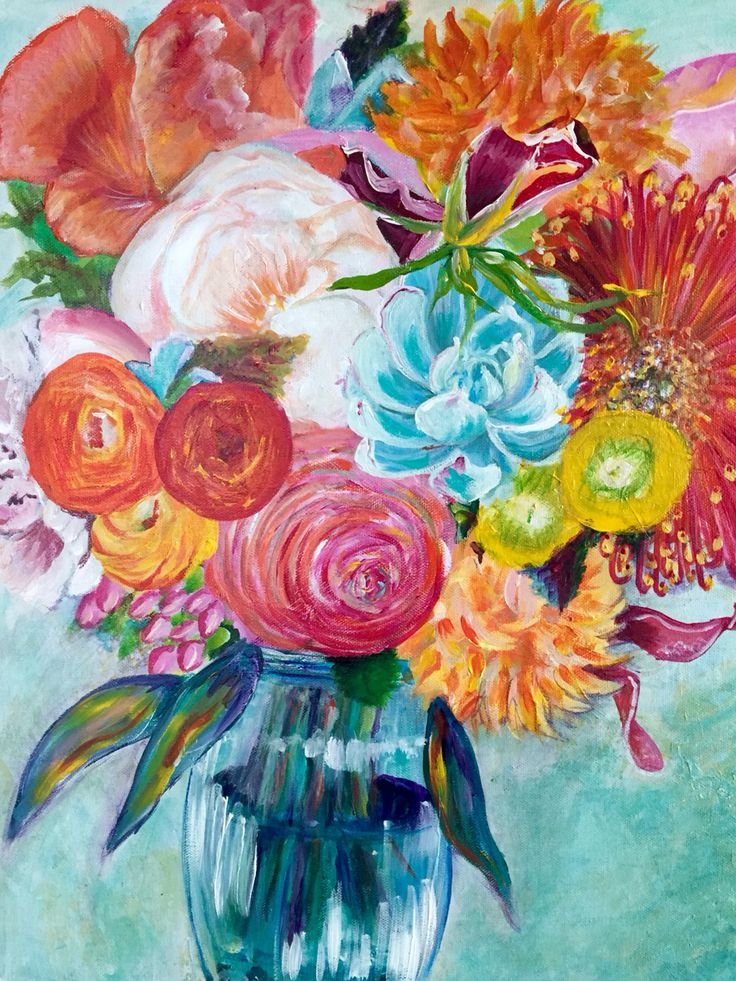 Happy Bouquet 16 x 20 oil painting | Canvas art paintings, Oil and ...