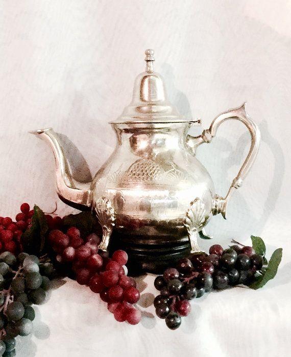Antique teapot Mediterranean Moroccan footed by CoCoBlueTreasures