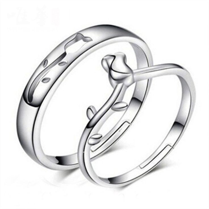 Rose Flower Couple Promise Rings (Pair)