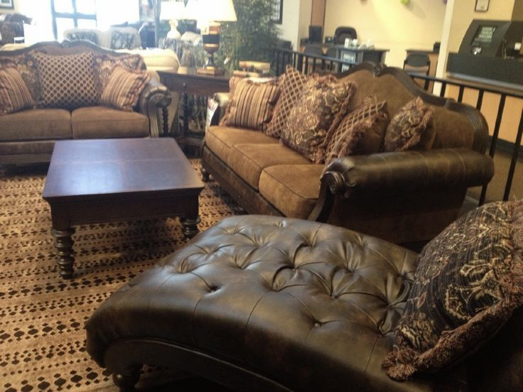 From Gallery Furniture · The Glynallen Teak Sofa Group Features A Collage  Of Pillows, Leather, And Wood Trim Part 64