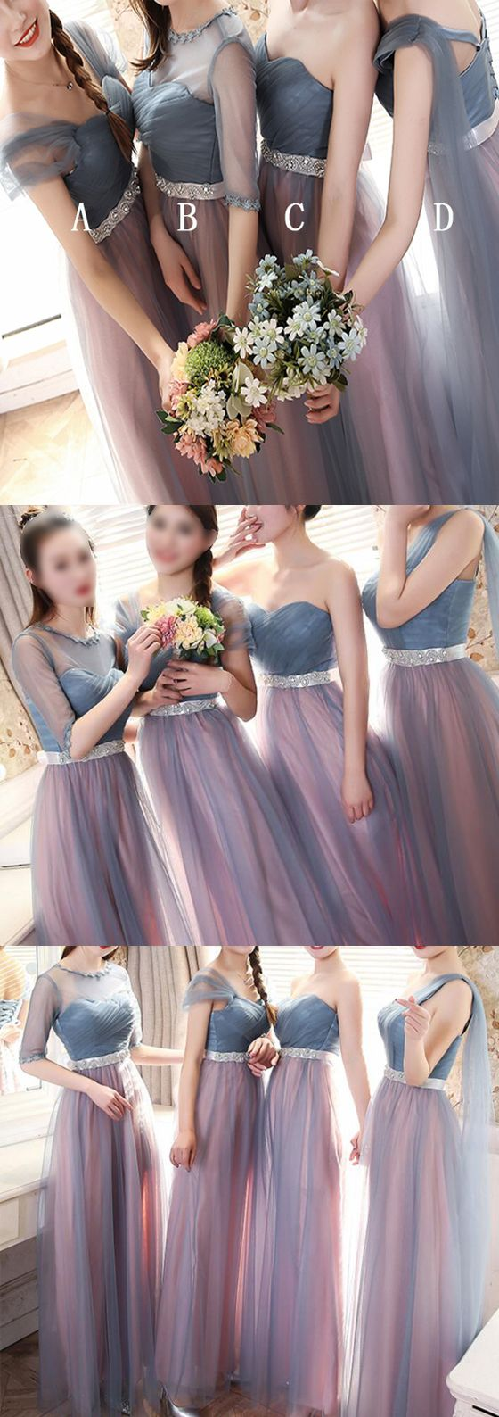 Long bridesmaid dress, mismatched bridesmaid dress, tulle bridesmaid dress, new arrival bridesmaid dress, unique bridesmaid dress, PD15464 #bridesmaid #bridesmaidsdress #weddings #weddingpartydress