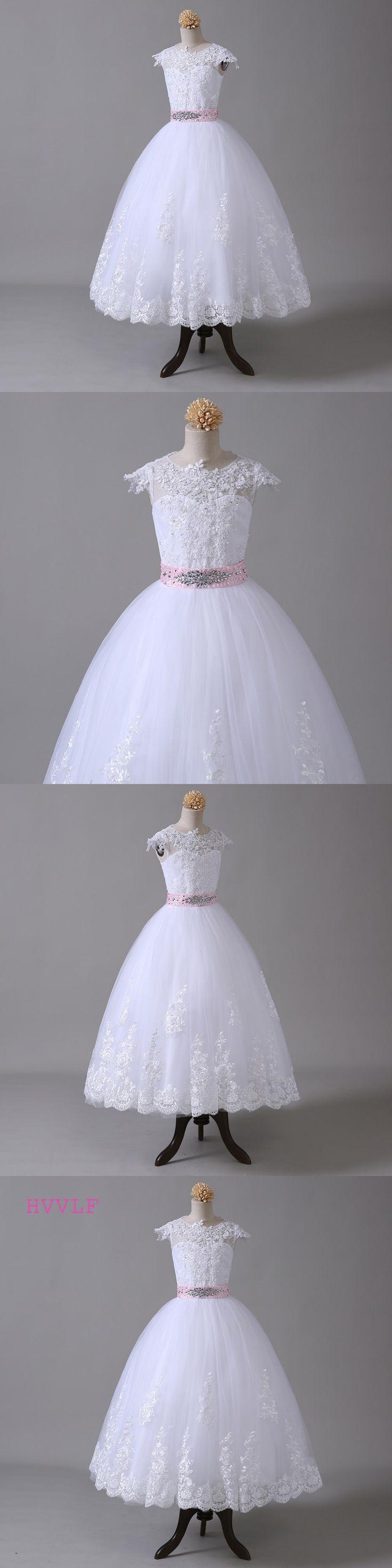Ball Gown 2018 Flower Girl Dresses For Weddings Cap Sleeves Bow Lace Beaded First Communion Dresses For Little Girls