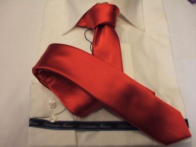 Cravatta Slim Rasata Rosso Vivo o Fuoco Cravattino Slim Stretta  www.italiantrendy.it