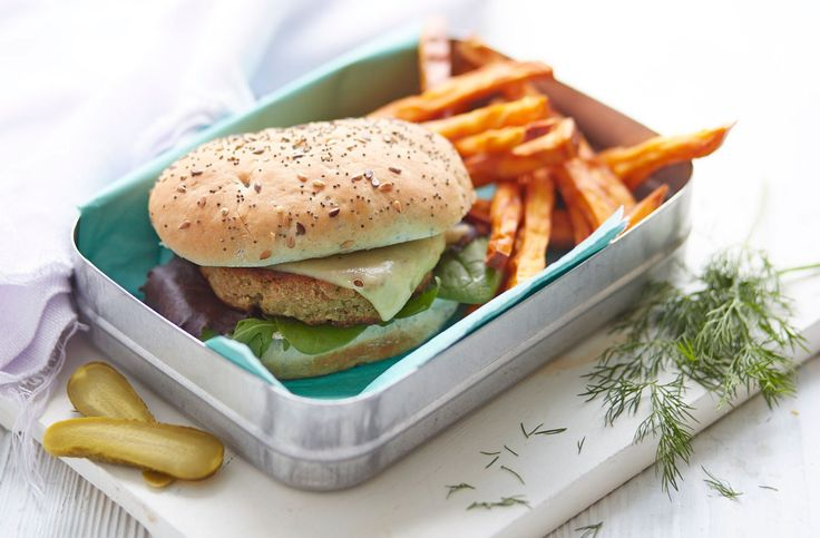 Try a burger alternative with this mouthwatering smoked mackerel version served with a side of crispy sweet potato fries. It's the perfect combination of smoky salt balanced with the creaminess of Jarlsberg cheese.