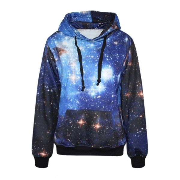 Blue Galaxy Print Hoodie ($21) ❤ liked on Polyvore featuring tops, hoodies, jackets, sweaters, outerwear, hoodies sweatshirts, sweatshirt hoodie, galaxy top, hooded sweatshirt and blue hoodies