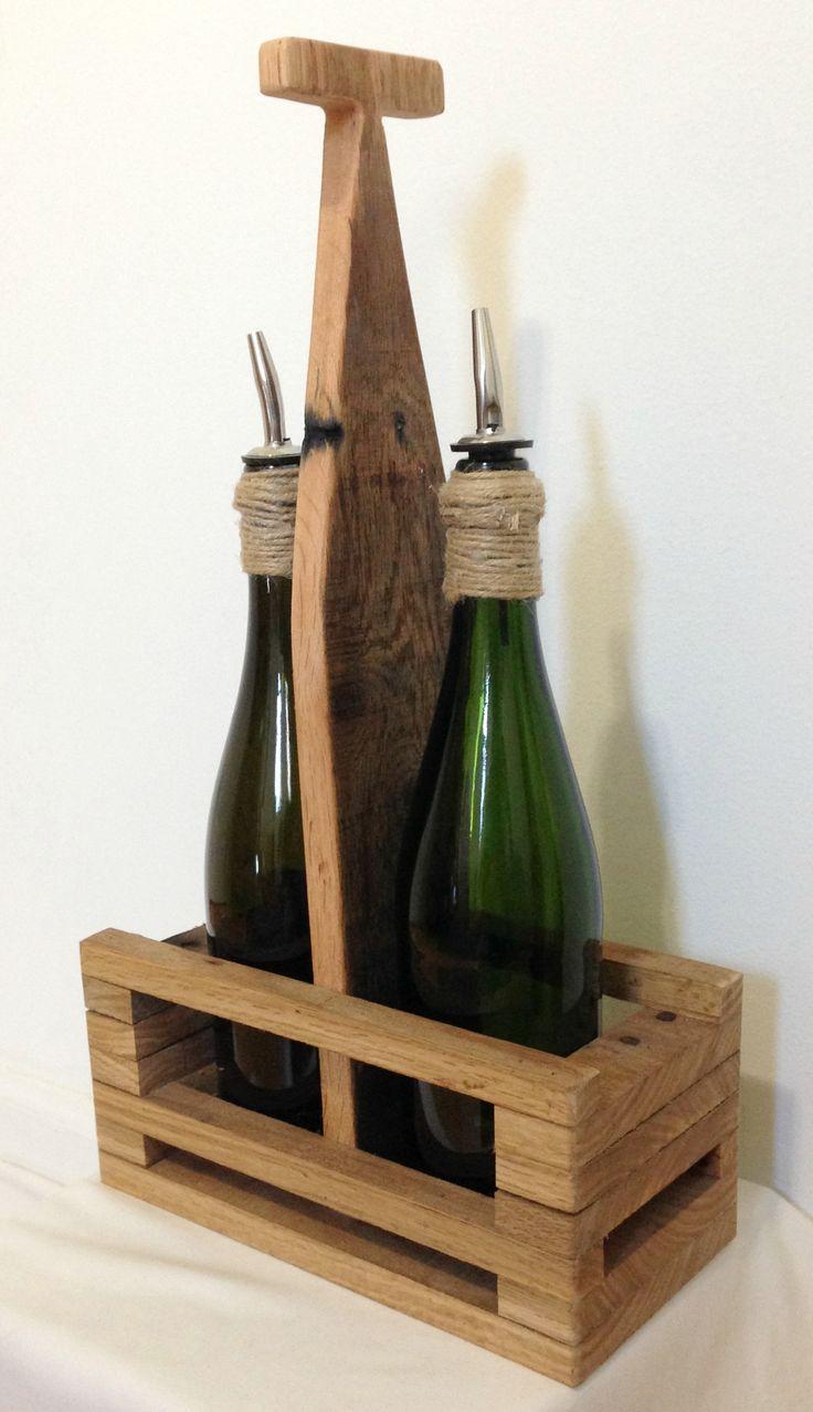 Oil & Vinegar bottles with originally designed and handcrafted carrier #handmade #reclaimed #upcycled #jute #twine #oil #vinegar #decor #gift #MyCRO #WM