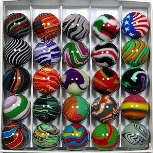Land Of Marbles: Box of 25 Carl Fisher Marbles - for sale via landofmarbles.com