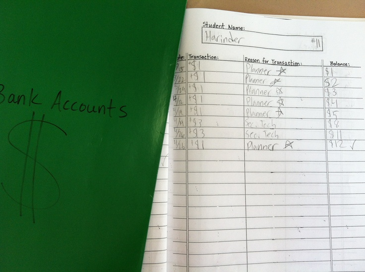 More student store stuff. The banking book where the class Treasurer (who also manages the student stores) keeps track of debits and credits to student bank accounts.  No planner today? -$1.00  You got an A on your quiz! +$1.00 The treasurer makes $5.00/week