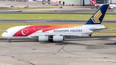 Singapore Airlines (SG) Airbus A380-841 9V-SKI aircraft, painted in ''Singapore's 50th Birthday'' special colours May 2015, skating at Australia Sydney Kingsford Smith International Airport. 03/01/2017.