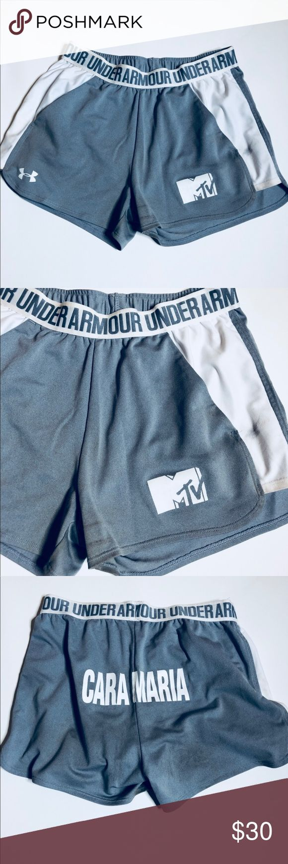 under armour Challenge gray athletic shorts. MTV These have been through some stuff. Serious work has been done while rockin these. They have battle scars to prove it. They are def well worn. Challenge mud doesnt come out. But they are comfy. They have pockets. They are awesome.   Comes with autographed thank you photo :) Under Armour Shorts