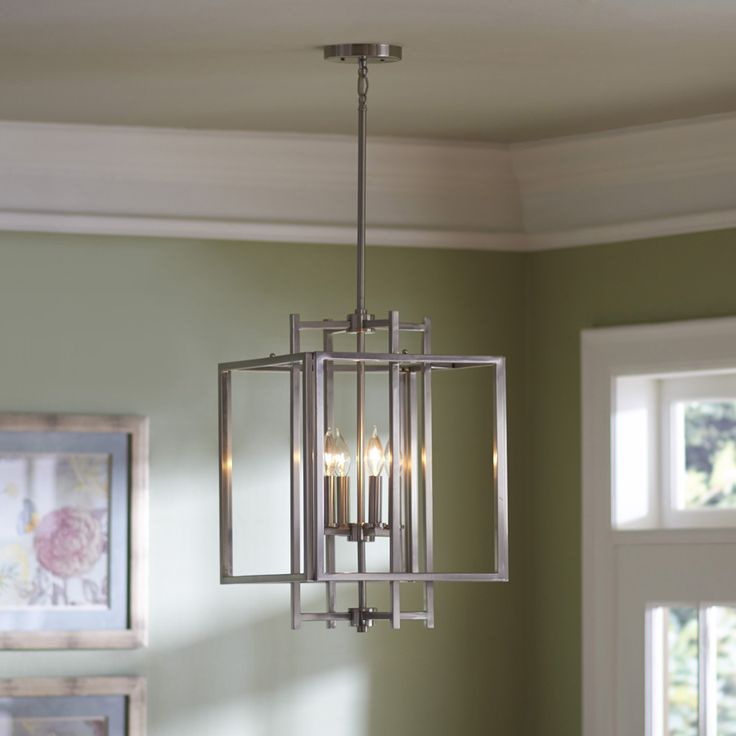 Shop Allen Roth 1402 In Brushed Nickel Industrial Single Cage Pendant At Lowes Kitchen LightingFoyer LightingLighting IdeasHouse