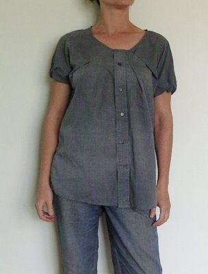 Make a men's shirt into a woman's blouse...gonna have to try this.