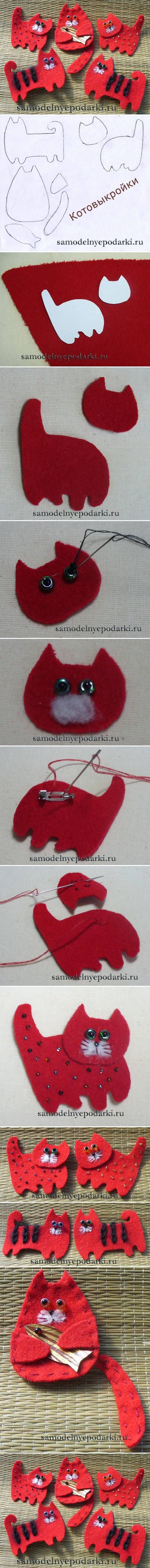 DIY Fabric Cat Brooch