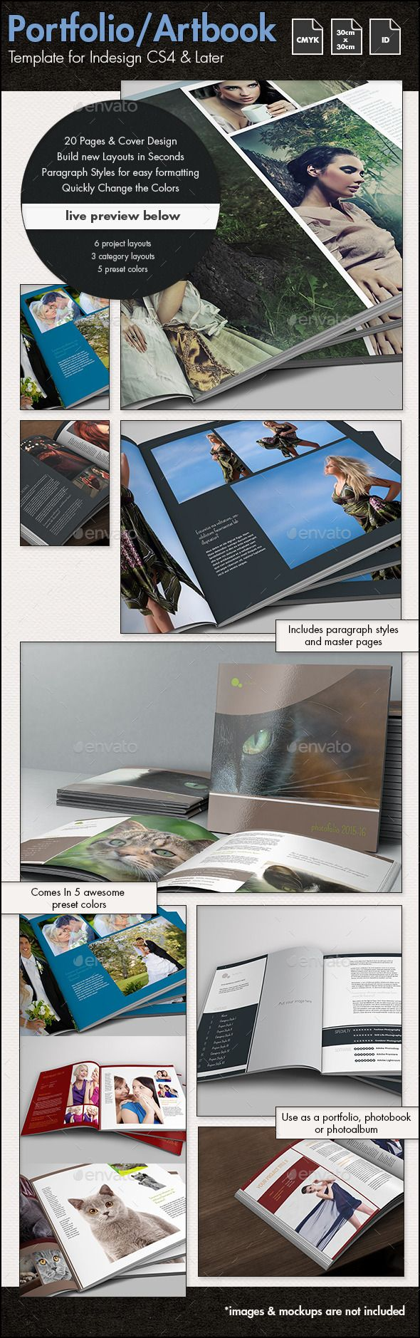 Photobook / Portfolio / Artbook Template - 30x30cm