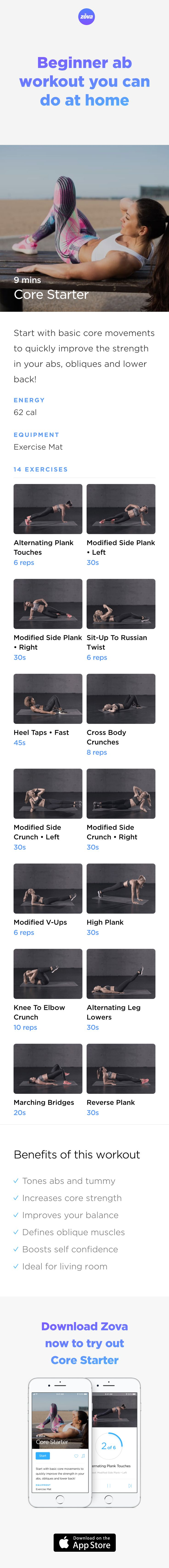 If you're on a mission to tone up your abs and tummy, the good news is that your lost abs can be found again with the right workout. And this simple bodyweight workout will help you get started with 14 exercises that tone and strengthen your abs and lower back. #abs #workout #fitness