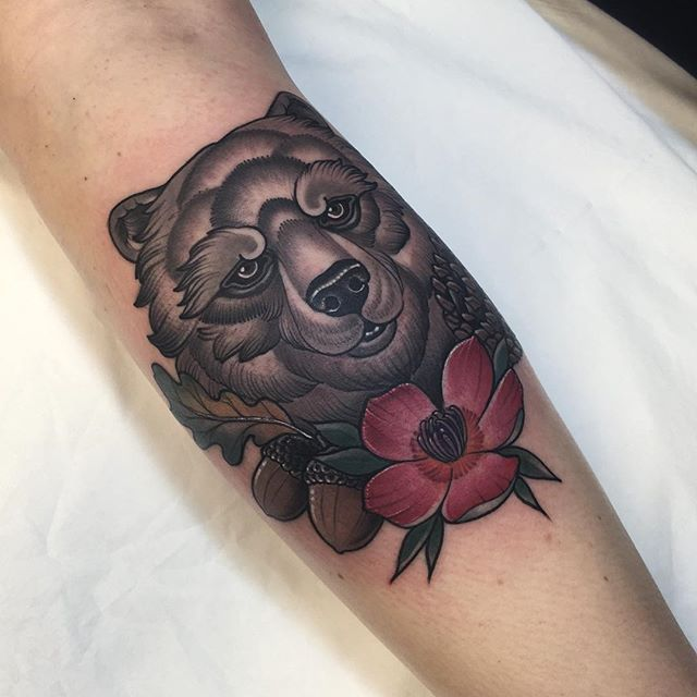 Thanks Jana , bear head from earlier today . #tattoo #bear #beartattoo…