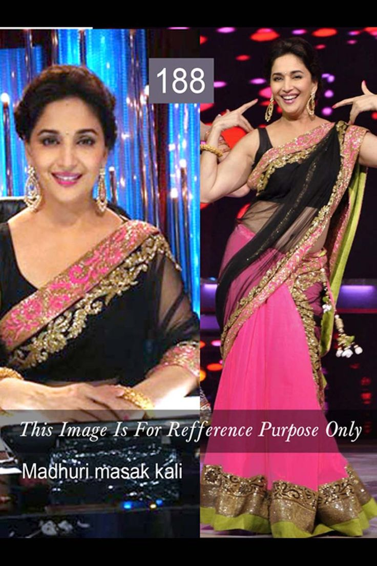 Madhuri Dixit Black Chiffon Latest Bollywood Saree