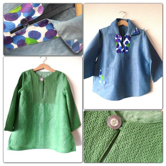 水色のプルオーバーシャツは襟元にマリメッコの生地を。サイズは120緑のリネンのチュニックもサイズは120※マリメッコの生地を使った服の販売は著作権があるためで... ハンドメイド、手作り、手仕事品の通販・販売・購入ならCreema。