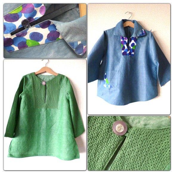 水色のプルオーバーシャツは襟元にマリメッコの生地を。サイズは120緑のリネンのチュニックもサイズは120※マリメッコの生地を使った服の販売は著作権があるためで...|ハンドメイド、手作り、手仕事品の通販・販売・購入ならCreema。