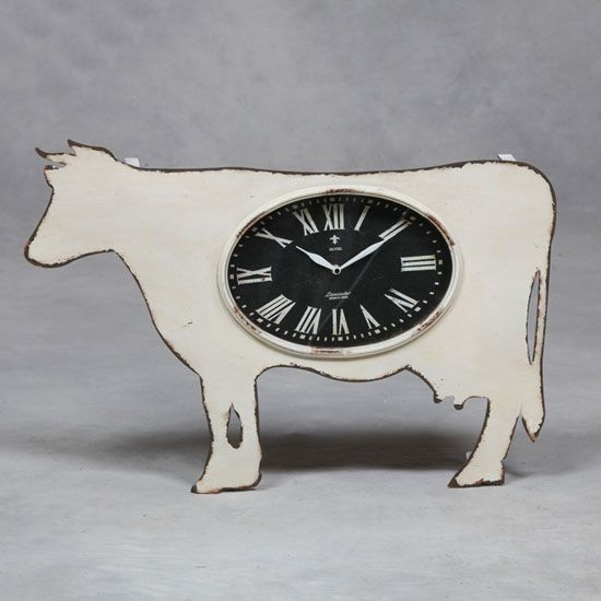 Fun cow shabby chic style clock