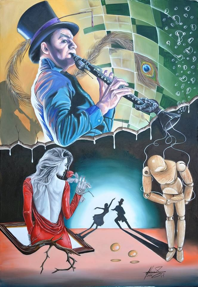 """VOULEZ VOUS DANSER"" Oil on canvas.Size:91 x 131 cm(35.8 x 51.5 inch) Who is interested to buy it can send me a privat message.   #art #painter #painture #surrealism"