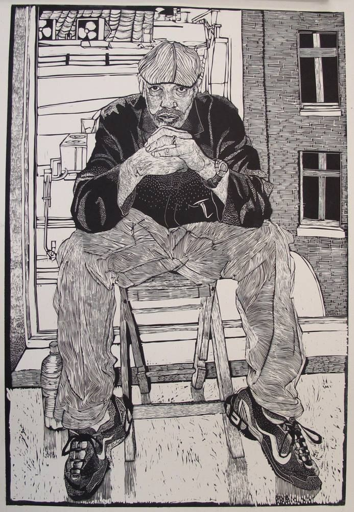 "Jacques Moiroud ""Almost Blue""-linocut-24x36"
