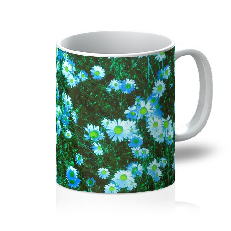 Daisy Blue Daisies in Teal Mug. Our top quality sublimation blank 11oz mugs are dishwasher safe and are pure white Orca coated. A fantastic personalised product for your store