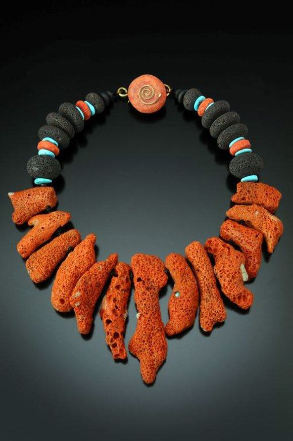 Necklace   Chris Carlson. 'Big Red'.  Coral, lava, turquoise.