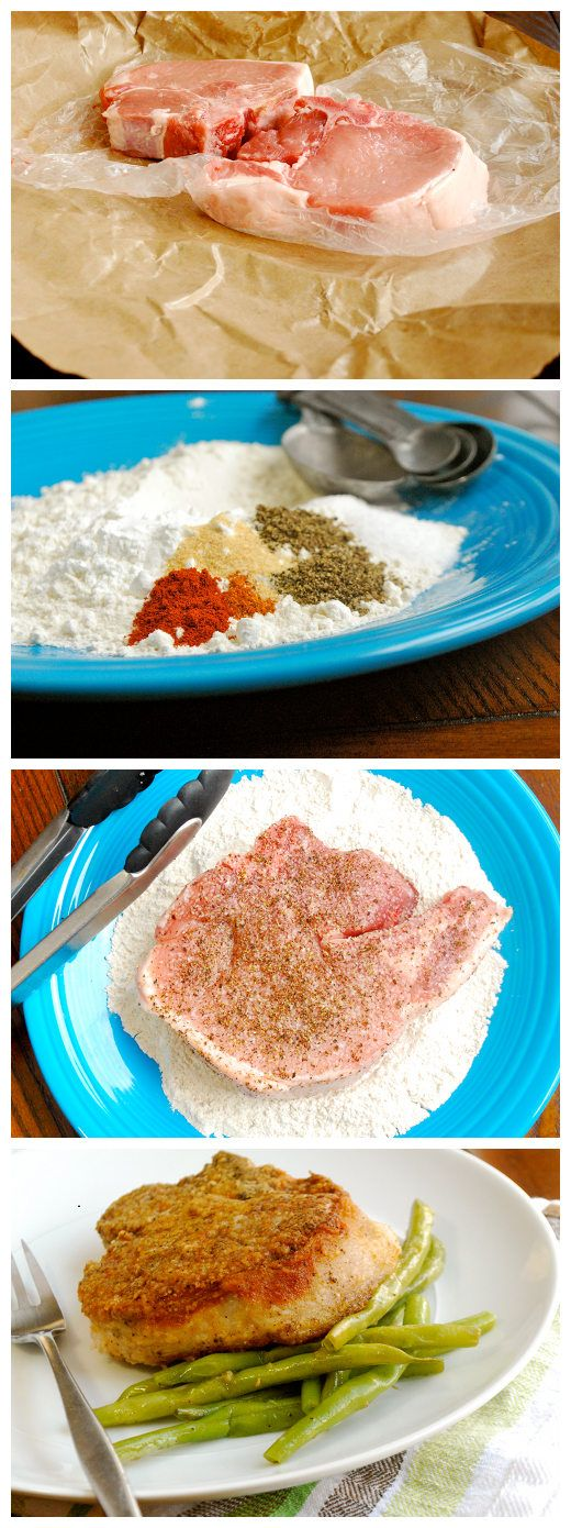 Ingredients: 2 center-cut, thick cut, bone-in pork chops 1/2 cup all-purpose flour 1 tbsp. corn starch 2 tsp. kosher salt, plus more to coat chops 2 tsp. ground black pepper, plus more to co...