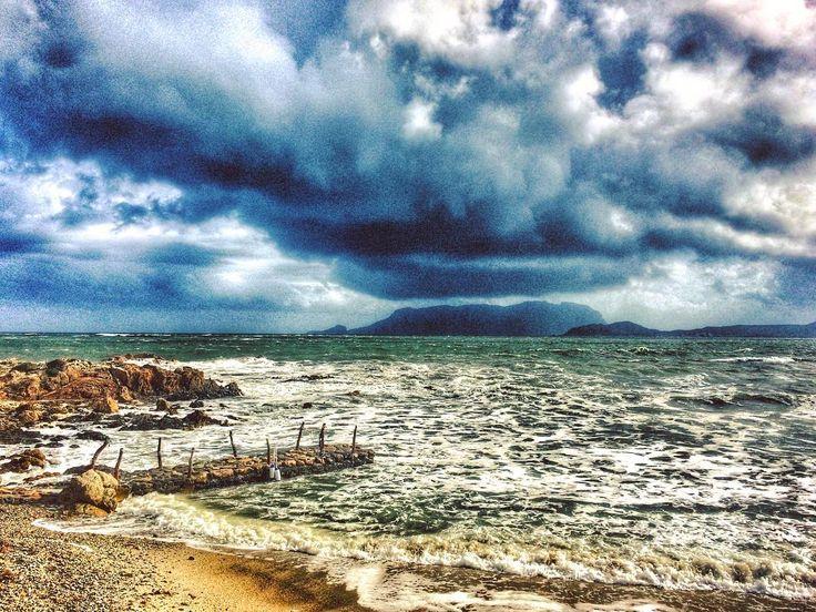 Stormy weather.  #Sardegna #stormy #amazing #wind #sardinia #sea #waves #beach #today #italy #january #winter #clouds #cloudporn #seaview #tavolara #sardinien #landscape #mycountry