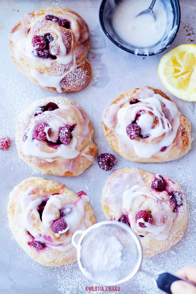 Raspberry Buns with Lemon Icing