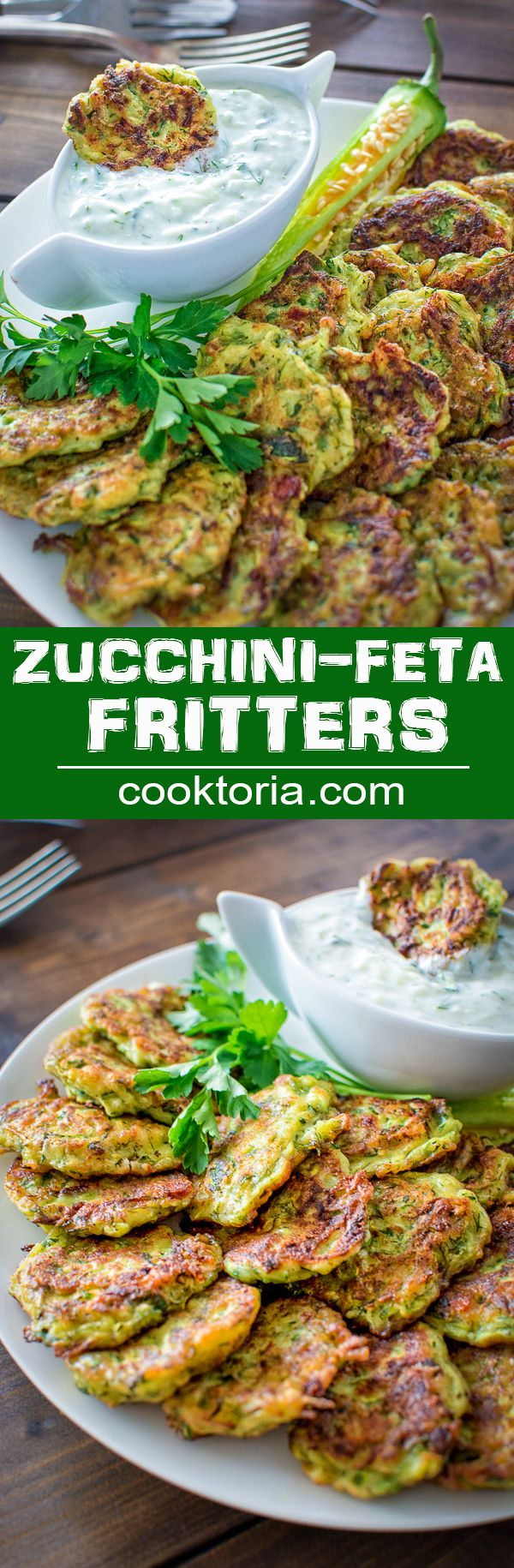 I make these healthy Zucchini Feta Fritters almost every single week! They are so delicious and tender, and they pair so well with Tzatziki sauce! ❤ COOKTORIA.COM